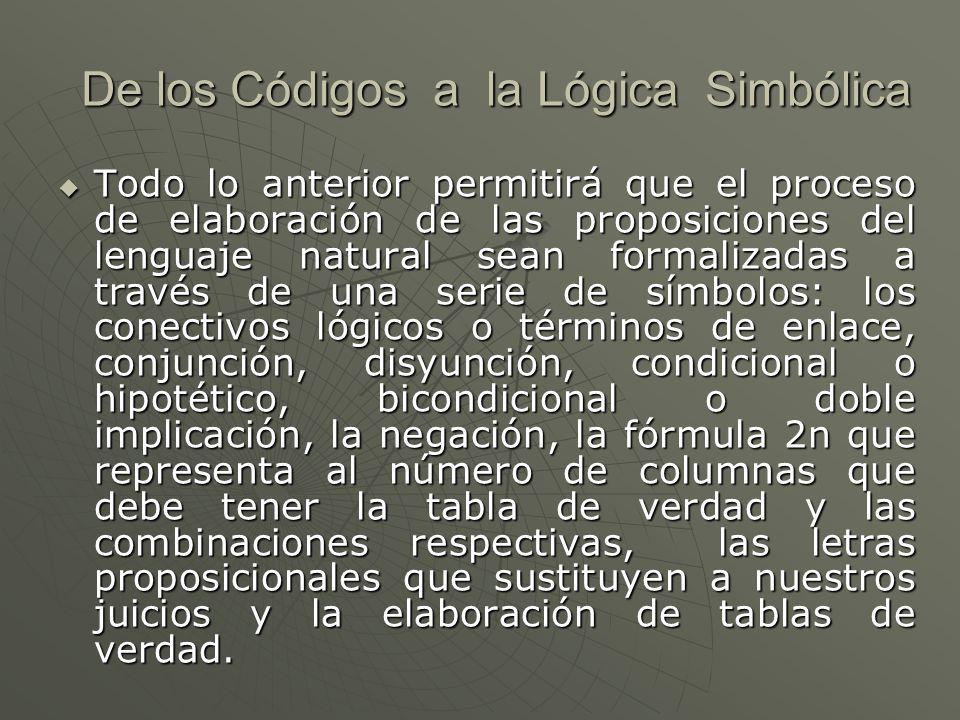 De los Códigos a la Lógica Simbólica Todo lo anterior permitirá que el proceso de elaboración de las proposiciones del lenguaje natural sean formalizadas a través de una serie de símbolos: los conectivos lógicos o términos de enlace, conjunción, disyunción, condicional o hipotético, bicondicional o doble implicación, la negación, la fórmula 2n que representa al número de columnas que debe tener la tabla de verdad y las combinaciones respectivas, las letras proposicionales que sustituyen a nuestros juicios y la elaboración de tablas de verdad.