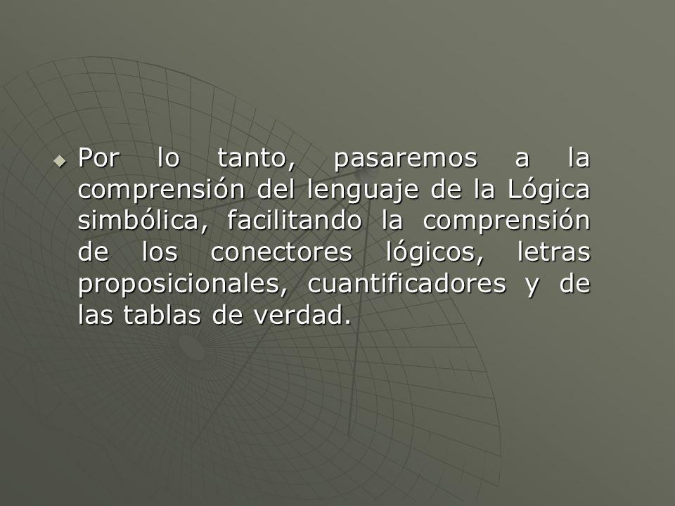 Por lo tanto, pasaremos a la comprensión del lenguaje de la Lógica simbólica, facilitando la comprensión de los conectores lógicos, letras proposicionales, cuantificadores y de las tablas de verdad.