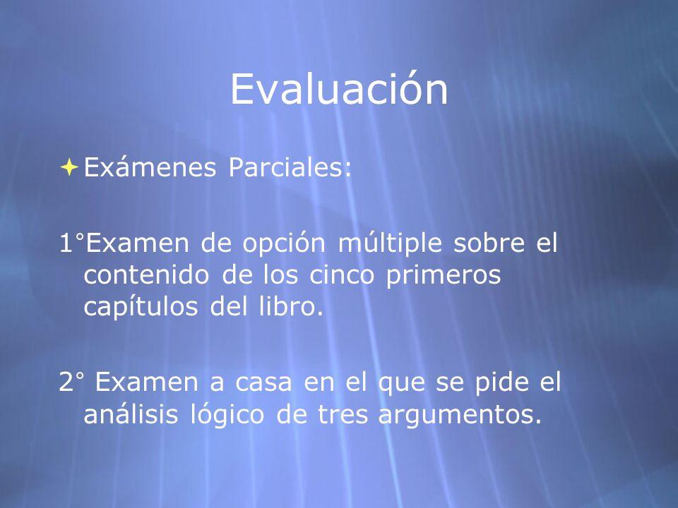 Evaluación Exámenes Parciales: 1 ° Examen de opción múltiple sobre el contenido de los cinco primeros capítulos del libro. 2 ° Examen a casa en el que