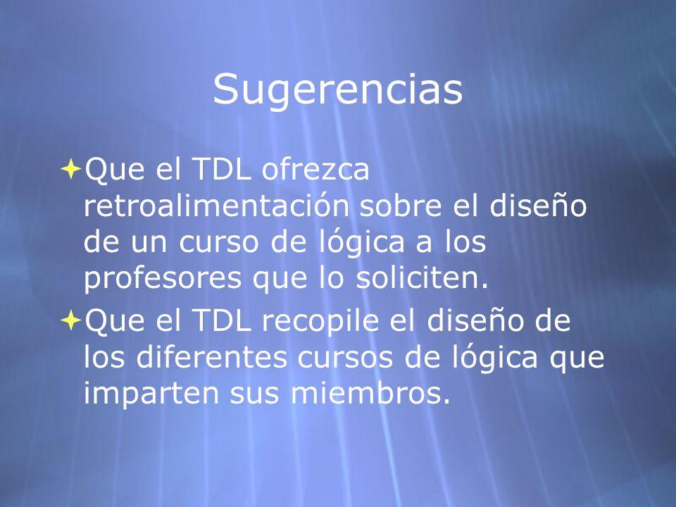 Sugerencias Que el TDL ofrezca retroalimentación sobre el diseño de un curso de lógica a los profesores que lo soliciten. Que el TDL recopile el diseñ