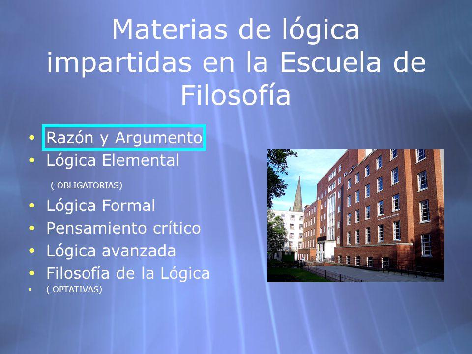 Materias de lógica impartidas en la Escuela de Filosofía Razón y Argumento Lógica Elemental ( OBLIGATORIAS) Lógica Formal Pensamiento crítico Lógica a