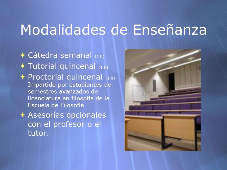 Modalidades de Enseñanza Cátedra semanal (1 h) Tutorial quincenal (1 h) Proctorial quincenal (1 h) Impartido por estudiantes de semestres avanzados de