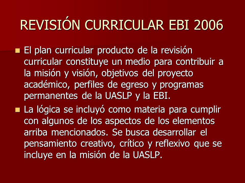 REVISIÓN CURRICULAR EBI 2006 El plan curricular producto de la revisión curricular constituye un medio para contribuir a la misión y visión, objetivos