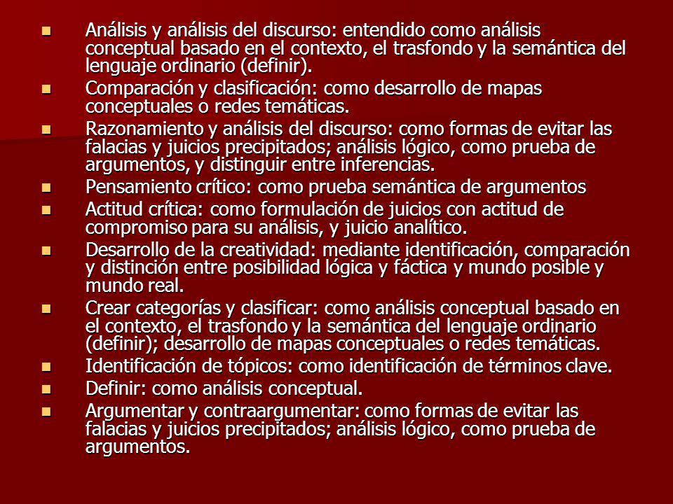 Análisis y análisis del discurso: entendido como análisis conceptual basado en el contexto, el trasfondo y la semántica del lenguaje ordinario (defini