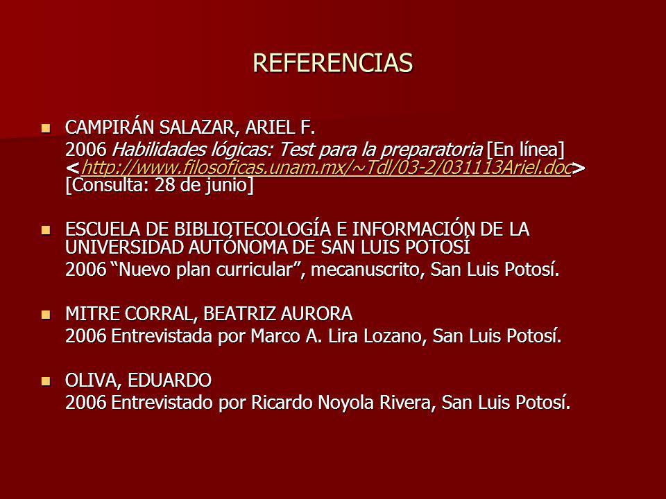 REFERENCIAS CAMPIRÁN SALAZAR, ARIEL F. CAMPIRÁN SALAZAR, ARIEL F. 2006 Habilidades lógicas: Test para la preparatoria [En línea] [Consulta: 28 de juni