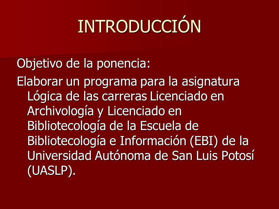 INTRODUCCIÓN Objetivo de la ponencia: Elaborar un programa para la asignatura Lógica de las carreras Licenciado en Archivología y Licenciado en Biblio