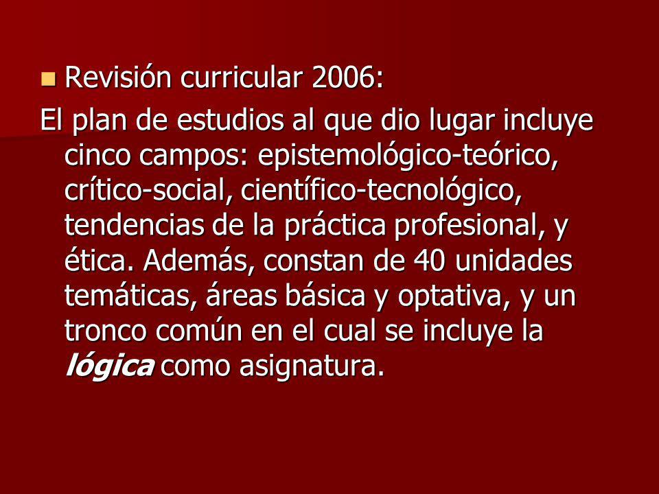 Revisión curricular 2006: Revisión curricular 2006: El plan de estudios al que dio lugar incluye cinco campos: epistemológico-teórico, crítico-social,