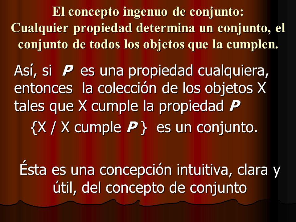 El concepto ingenuo de conjunto: Cualquier propiedad determina un conjunto, el conjunto de todos los objetos que la cumplen. Así, si P es una propieda