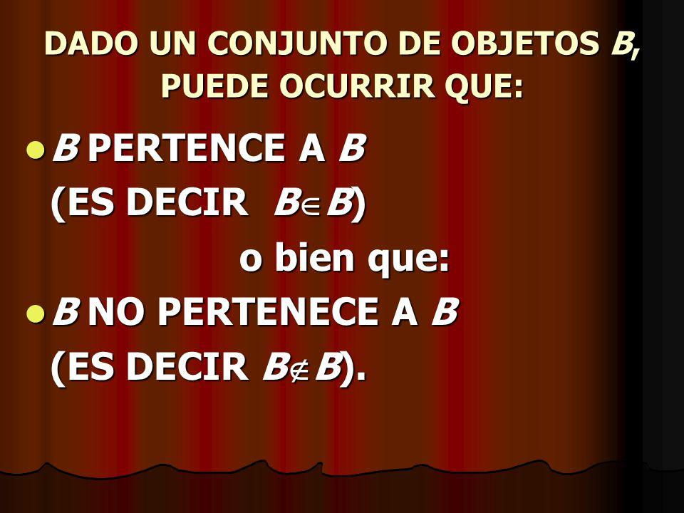 DADO UN CONJUNTO DE OBJETOS B, PUEDE OCURRIR QUE: B PERTENCE A B B PERTENCE A B (ES DECIR B B) o bien que: B NO PERTENECE A B B NO PERTENECE A B (ES D