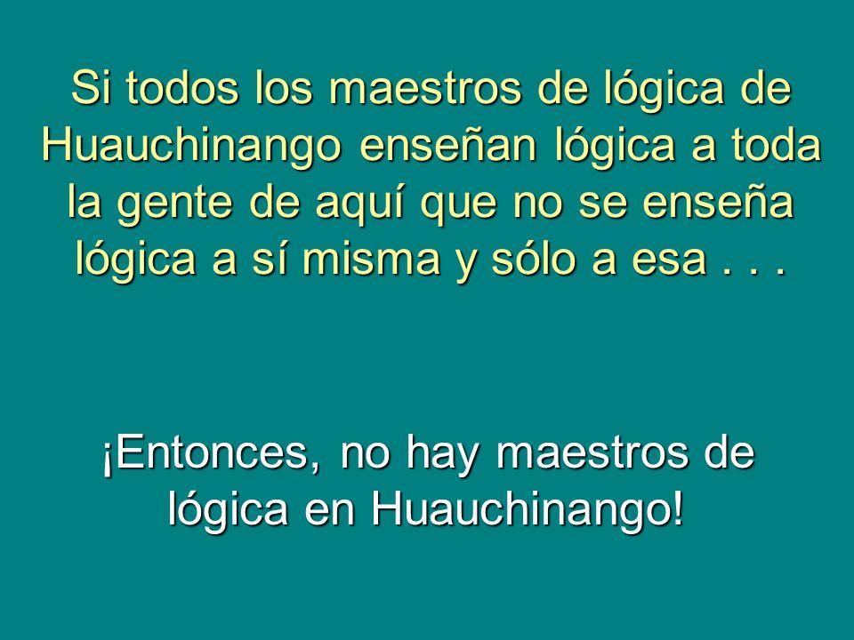 OCHO EJEMPLOS DE LA VERDAD LÓGICA MUY ESPECIAL UNIVERSO: LOS HOMBRES DE HUAUCHINANGO RELACIÓN R: X RASURA A Y VERDAD LÓGICA: NO HAY BARBERO EN HUAUCHINANGO QUE RASURE A TODOS LOS HOMBRES DE HUAUCHINANGO QUE NO SE RASURAN A SÍ MISMOS, Y SÓLO A ESOS