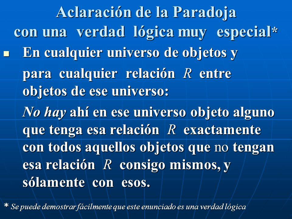 Aclaración de la Paradoja con una verdad lógica muy especial * En cualquier universo de objetos y En cualquier universo de objetos y para cualquier re