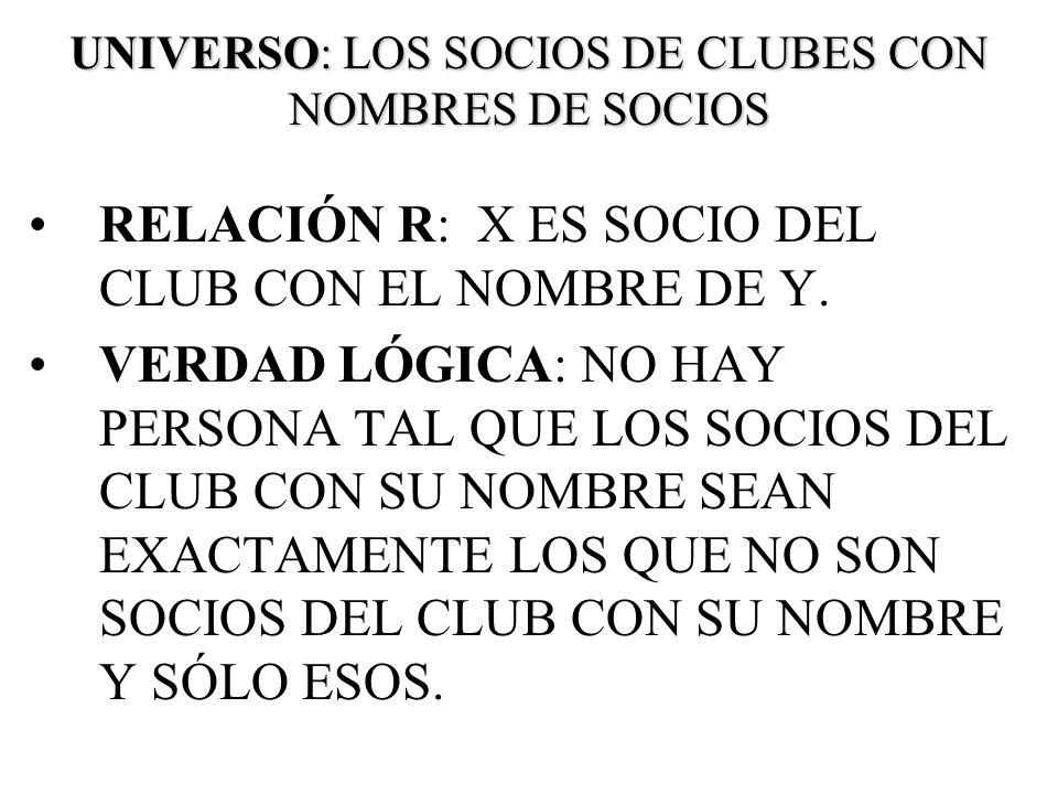 UNIVERSO: LOS SOCIOS DE CLUBES CON NOMBRES DE SOCIOS RELACIÓN R: X ES SOCIO DEL CLUB CON EL NOMBRE DE Y. VERDAD LÓGICA: NO HAY PERSONA TAL QUE LOS SOC