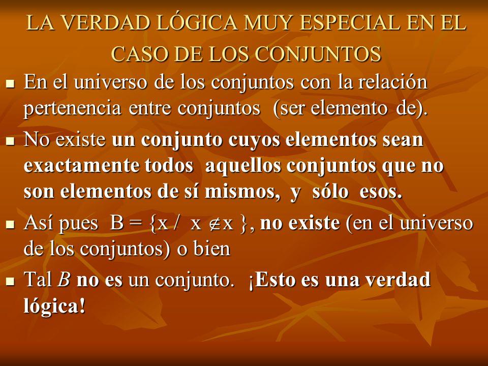 LA VERDAD LÓGICA MUY ESPECIAL EN EL CASO DE LOS CONJUNTOS En el universo de los conjuntos con la relación pertenencia entre conjuntos (ser elemento de