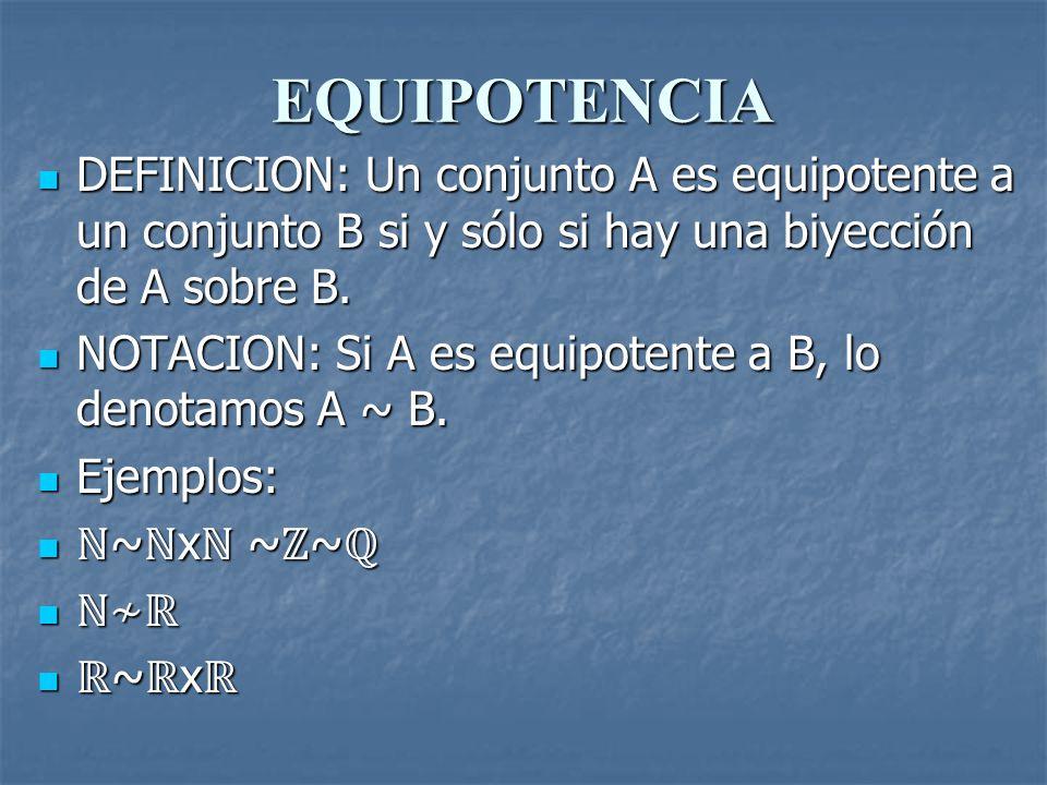 EQUIPOTENCIA DEFINICION: Un conjunto A es equipotente a un conjunto B si y sólo si hay una biyección de A sobre B. DEFINICION: Un conjunto A es equipo