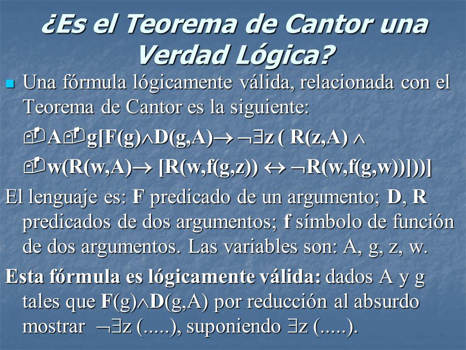 ¿Es el Teorema de Cantor una Verdad Lógica? Una fórmula lógicamente válida, relacionada con el Teorema de Cantor es la siguiente: Una fórmula lógicame