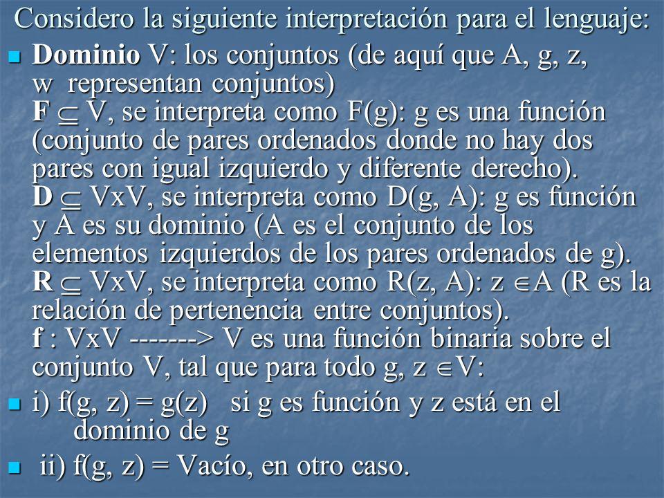 Considero la siguiente interpretación para el lenguaje: Dominio V: los conjuntos (de aquí que A, g, z, w representan conjuntos) F V, se interpreta com