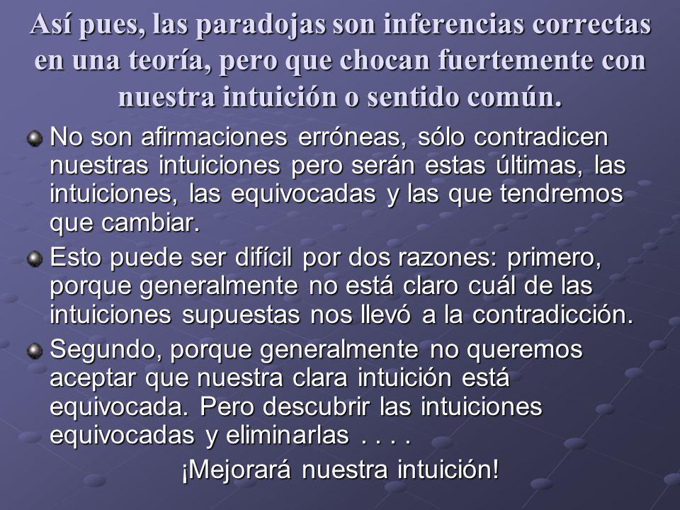 Así pues, las paradojas son inferencias correctas en una teoría, pero que chocan fuertemente con nuestra intuición o sentido común. No son afirmacione