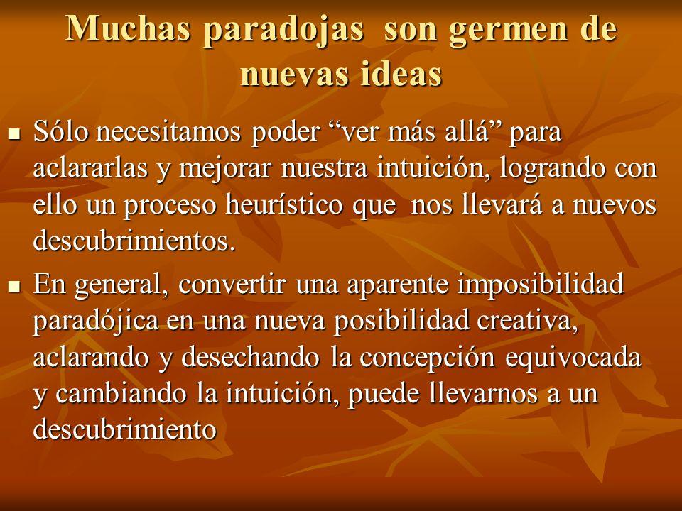 Muchas paradojas son germen de nuevas ideas Sólo necesitamos poder ver más allá para aclararlas y mejorar nuestra intuición, logrando con ello un proc