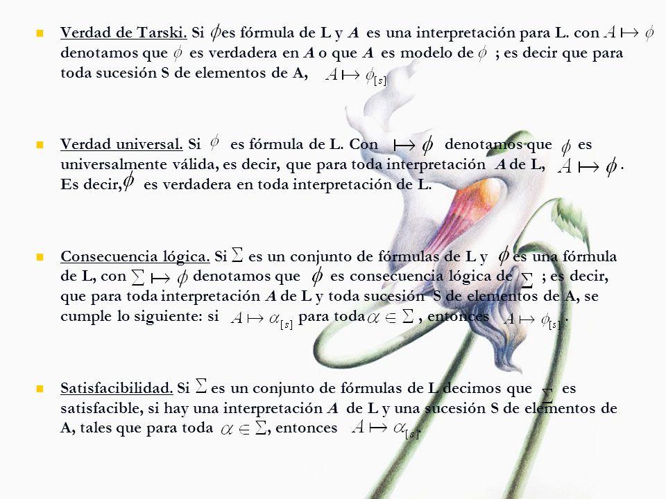 Verdad de Tarski. Si es fórmula de L y A es una interpretación para L. con denotamos que es verdadera en A o que A es modelo de ; es decir que para to
