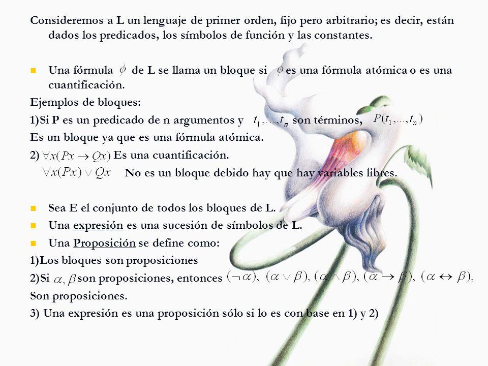 Consideremos a L un lenguaje de primer orden, fijo pero arbitrario; es decir, están dados los predicados, los símbolos de función y las constantes. Un