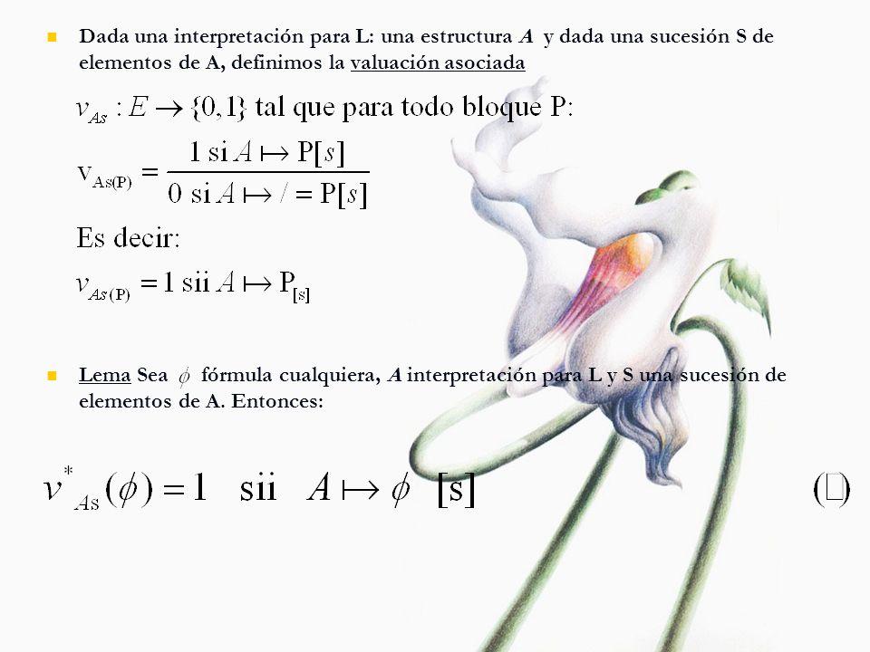 Dada una interpretación para L: una estructura A y dada una sucesión S de elementos de A, definimos la valuación asociada Lema Sea fórmula cualquiera,