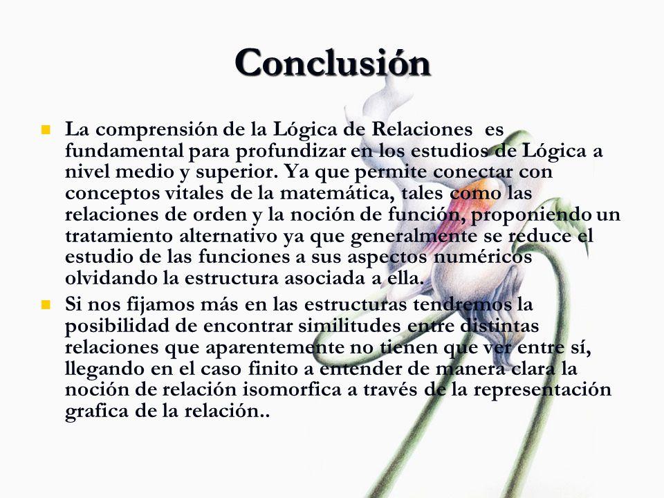 Conclusión La comprensión de la Lógica de Relaciones es fundamental para profundizar en los estudios de Lógica a nivel medio y superior. Ya que permit