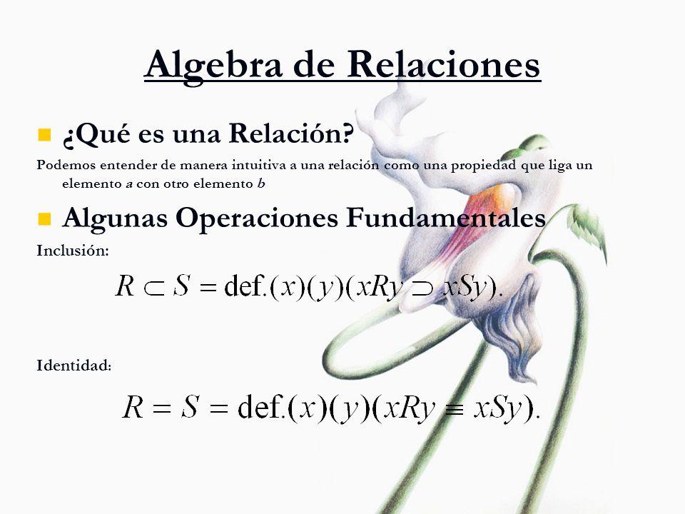Algebra de Relaciones ¿Qué es una Relación? Podemos entender de manera intuitiva a una relación como una propiedad que liga un elemento a con otro ele