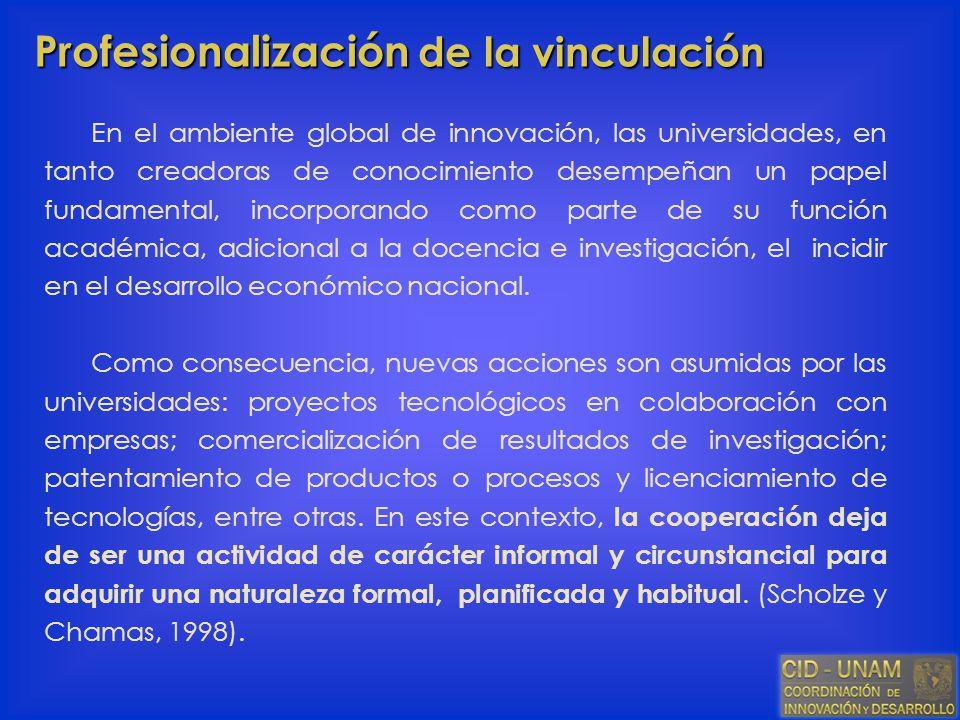 Profesionalización de la vinculación En el ambiente global de innovación, las universidades, en tanto creadoras de conocimiento desempeñan un papel fu