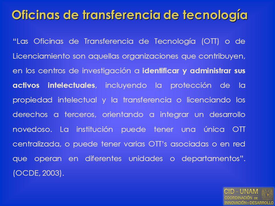 Oficinas de transferencia de tecnología Las Oficinas de Transferencia de Tecnología (OTT) o de Licenciamiento son aquellas organizaciones que contribu