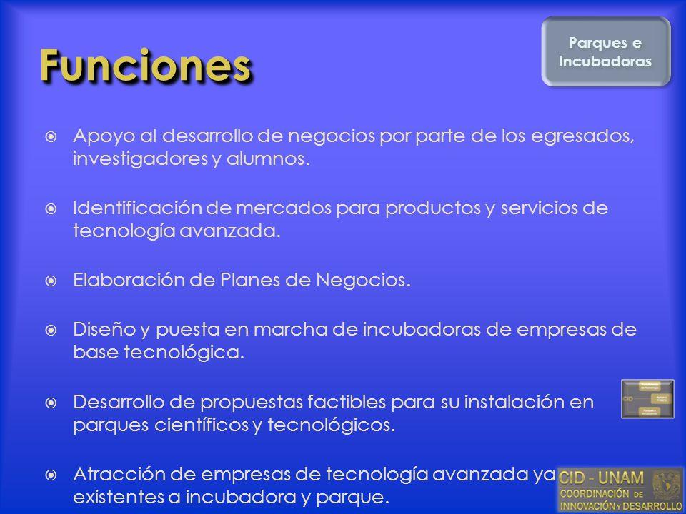FuncionesFunciones Apoyo al desarrollo de negocios por parte de los egresados, investigadores y alumnos. Identificación de mercados para productos y s