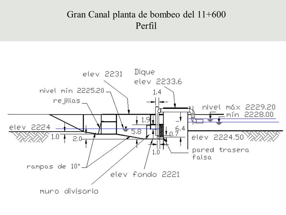 Gran Canal planta de bombeo del 11+600 Perfil