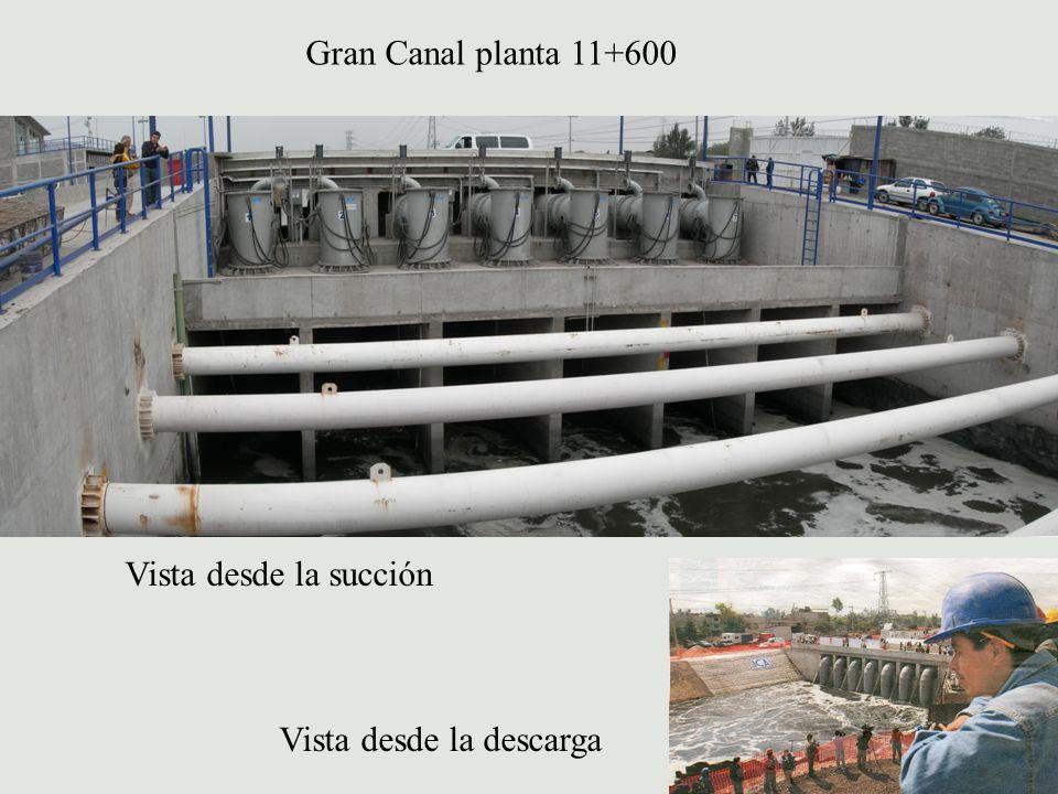Gran Canal planta 11+600 Vista desde la descarga Vista desde la succión