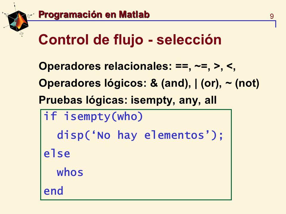 10 Programación en Matlab Control de flujo - selección Chequeo de datos, un ejemplo más elaborados function y=fact(n) % y=fact(n) calcula el factorial de n.