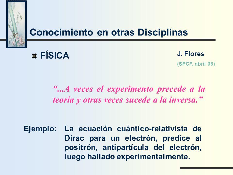 Conocimiento en otras Disciplinas FÍSICA...A veces el experimento precede a la teoría y otras veces sucede a la inversa. Ejemplo:La ecuación cuántico-