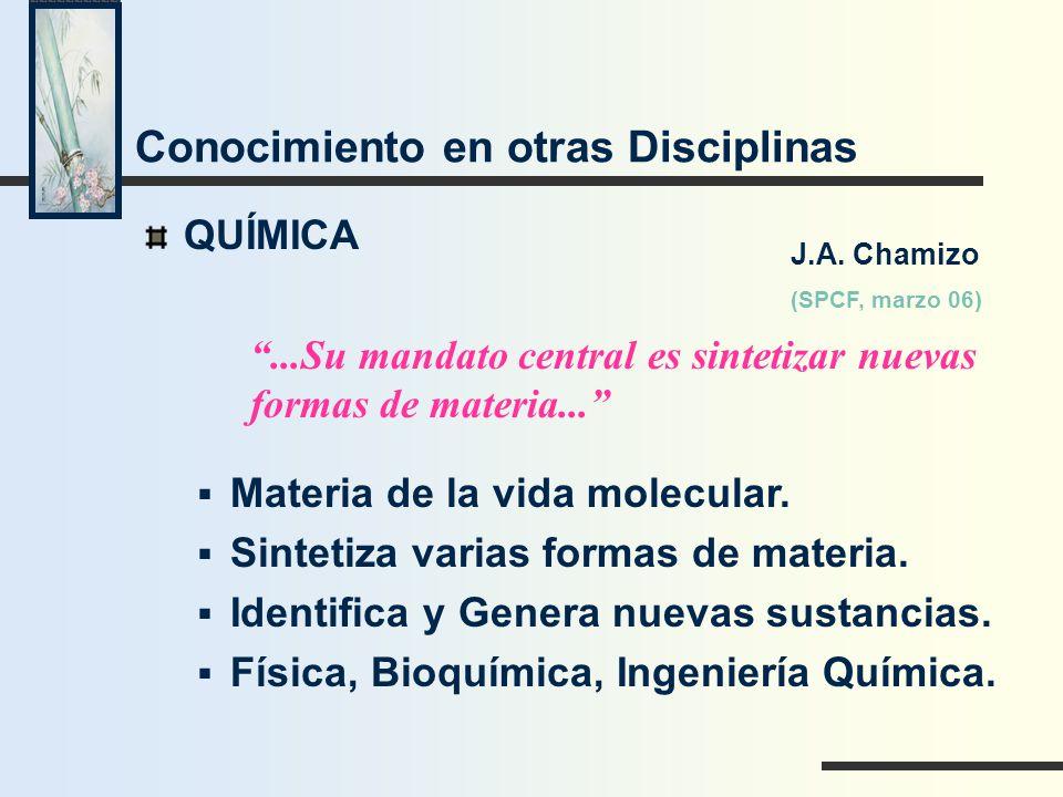 Conocimiento en otras Disciplinas QUÍMICA...Su mandato central es sintetizar nuevas formas de materia... Materia de la vida molecular. Sintetiza varia