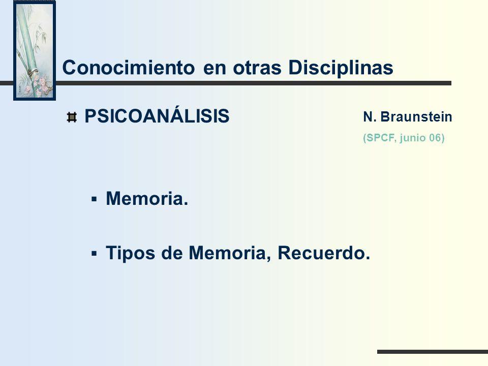 Conocimiento en otras Disciplinas PSICOANÁLISIS Memoria. Tipos de Memoria, Recuerdo. N. Braunstein (SPCF, junio 06)