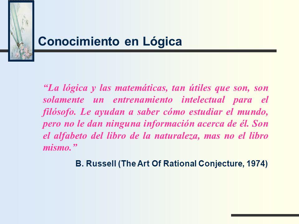 Conocimiento en Lógica B. Russell (The Art Of Rational Conjecture, 1974) La lógica y las matemáticas, tan útiles que son, son solamente un entrenamien