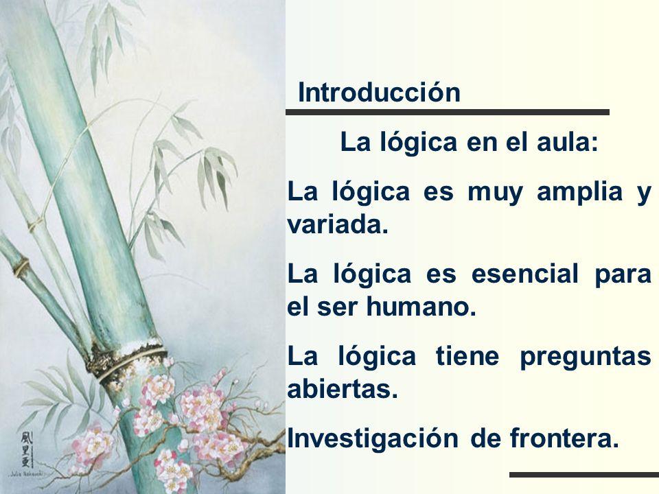 Introducción La lógica en el aula: La lógica es muy amplia y variada. La lógica es esencial para el ser humano. La lógica tiene preguntas abiertas. In
