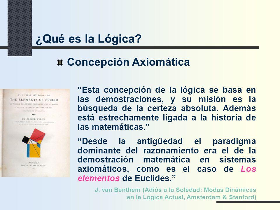 Concepción Axiomática Esta concepción de la lógica se basa en las demostraciones, y su misión es la búsqueda de la certeza absoluta. Además está estre