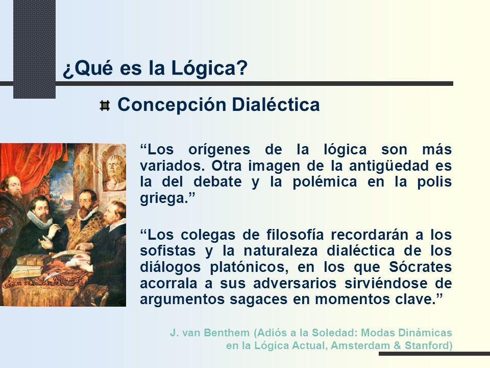 Concepción Dialéctica Los orígenes de la lógica son más variados. Otra imagen de la antigüedad es la del debate y la polémica en la polis griega. Los