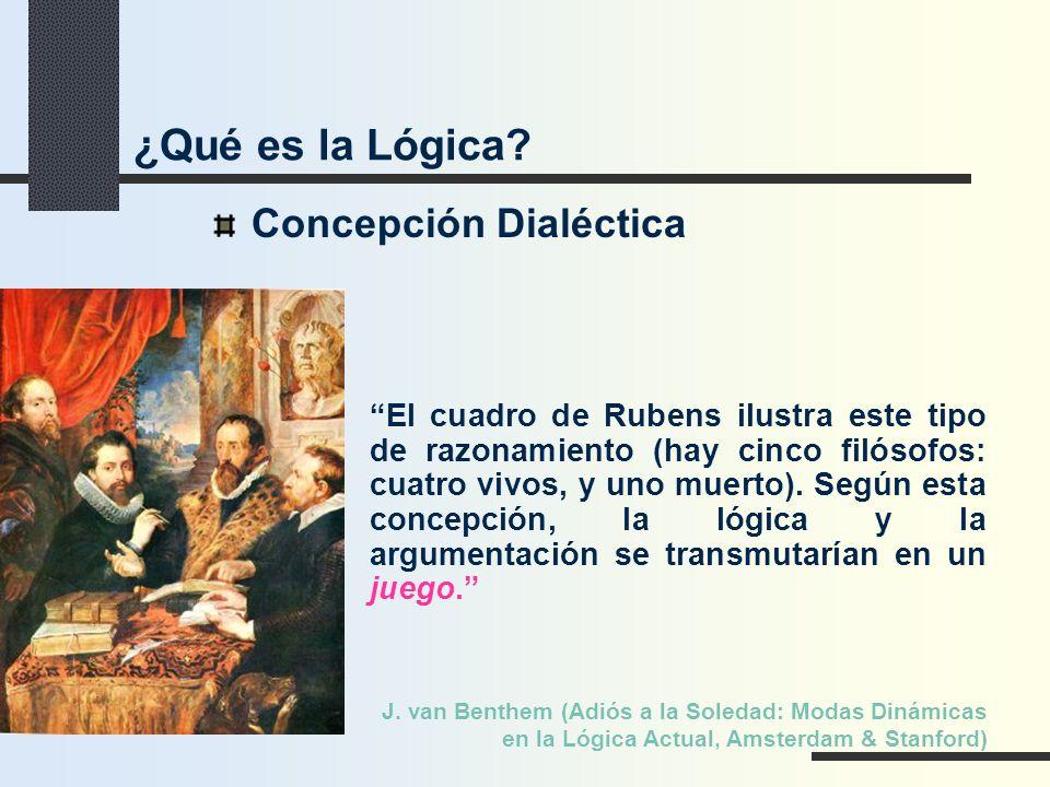 Concepción Dialéctica El cuadro de Rubens ilustra este tipo de razonamiento (hay cinco filósofos: cuatro vivos, y uno muerto). Según esta concepción,