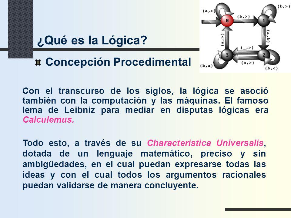 Concepción Procedimental Con el transcurso de los siglos, la lógica se asoció también con la computación y las máquinas. El famoso lema de Leibniz par
