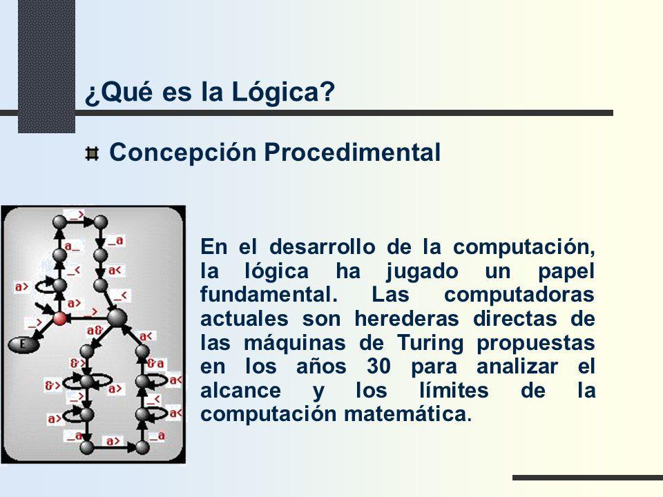Concepción Procedimental En el desarrollo de la computación, la lógica ha jugado un papel fundamental. Las computadoras actuales son herederas directa