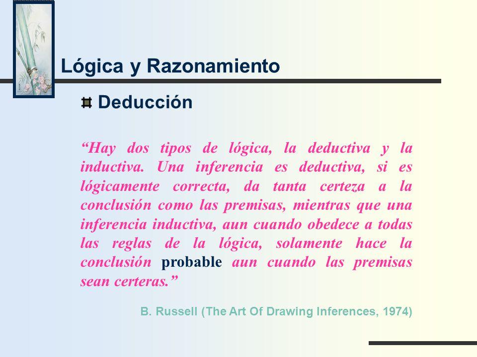 Deducción Hay dos tipos de lógica, la deductiva y la inductiva. Una inferencia es deductiva, si es lógicamente correcta, da tanta certeza a la conclus