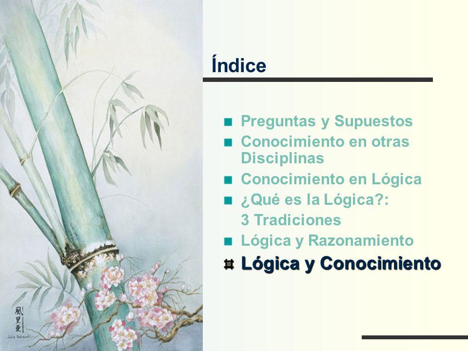 Índice Preguntas y Supuestos Conocimiento en otras Disciplinas Conocimiento en Lógica ¿Qué es la Lógica?: 3 Tradiciones Lógica y Razonamiento Lógica y