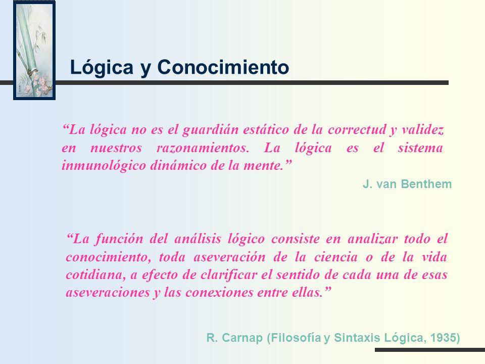 La lógica no es el guardián estático de la correctud y validez en nuestros razonamientos. La lógica es el sistema inmunológico dinámico de la mente. J