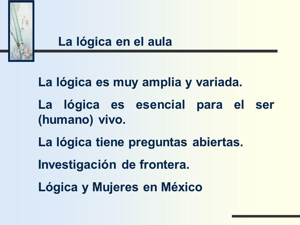La lógica es muy amplia y variada. La lógica es esencial para el ser (humano) vivo. La lógica tiene preguntas abiertas. Investigación de frontera. Lóg