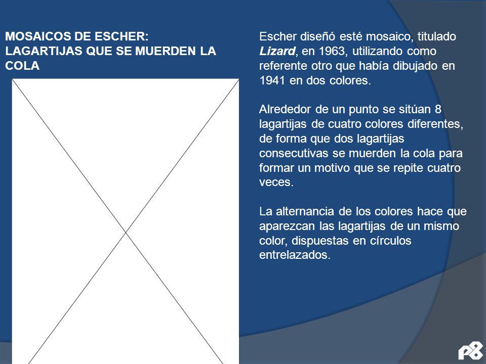 MOSAICOS DE ESCHER: LAGARTIJAS QUE SE MUERDEN LA COLA Escher diseñó esté mosaico, titulado Lizard, en 1963, utilizando como referente otro que había d