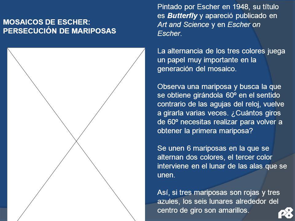 MOSAICOS DE ESCHER: PERSECUCIÓN DE MARIPOSAS Pintado por Escher en 1948, su título es Butterfly y apareció publicado en Art and Science y en Escher on