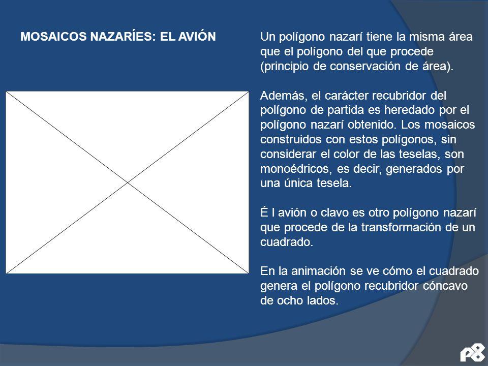 Un polígono nazarí tiene la misma área que el polígono del que procede (principio de conservación de área). Además, el carácter recubridor del polígon